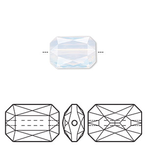 bead, swarovski crystals, crystal passions, white opal, 14x9.5mm faceted emerald cut (5515). sold individually.