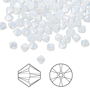bead, swarovski crystals, crystal passions, white opal, 4mm xilion bicone (5328). sold per pkg of 144 (1 gross).