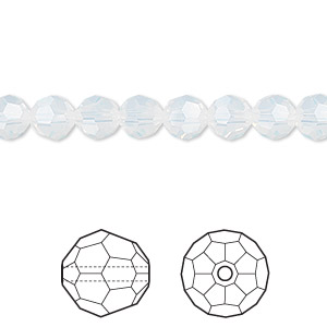 bead, swarovski crystals, crystal passions, white opal, 6mm faceted round (5000). sold per pkg of 12.