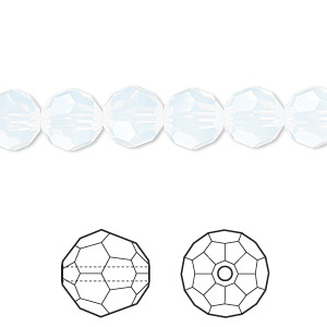 bead, swarovski crystals, crystal passions, white opal, 8mm faceted round (5000). sold per pkg of 12.