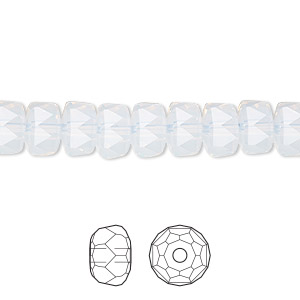 bead, swarovski crystals, crystal passions, white opal, 8x5mm faceted rondelle (5045). sold per pkg of 4.