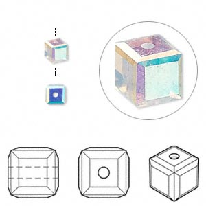 bead, swarovski crystals, crystal passions, white opal ab, 4x4mm faceted cube (5601). sold per pkg of 12.