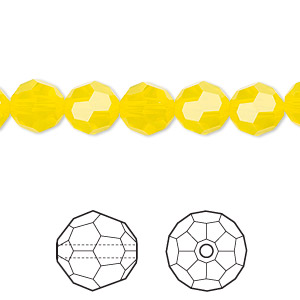 bead, swarovski crystals, crystal passions, yellow opal, 8mm faceted round (5000). sold per pkg of 12.