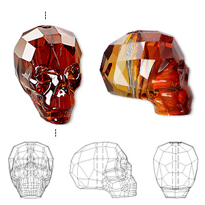 bead, swarovski crystals, crystal red magma, 19x18x14mm faceted skull (5750). sold per pkg of 12.