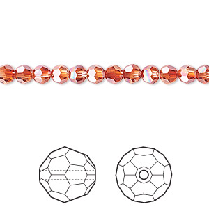 bead, swarovski crystals, crystal red magma, 4mm faceted round (5000). sold per pkg of 12.