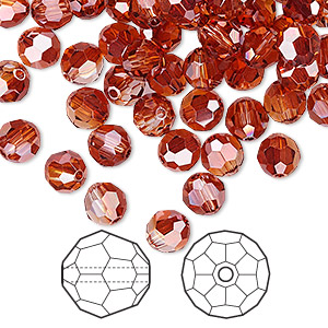 bead, swarovski crystals, crystal red magma, 6mm faceted round (5000). sold per pkg of 144 (1gross).