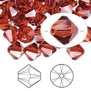 bead, swarovski crystals, crystal red magma, 8mm xilion bicone (5328). sold per pkg of 72.