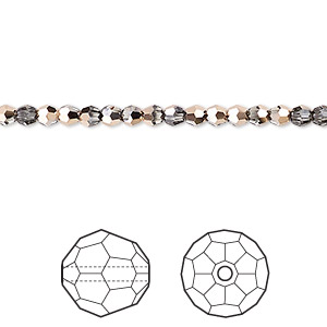 bead, swarovski crystals, crystal rose gold, 3mm faceted round (5000). sold per pkg of 720 (5 gross).