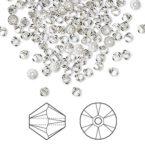 bead, swarovski crystals, crystal satin, 3mm xilion bicone (5328). sold per pkg of 1,440 (10 gross).