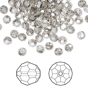 bead, swarovski crystals, crystal satin, 4mm faceted round (5000). sold per pkg of 720 (5 gross).