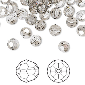 bead, swarovski crystals, crystal satin, 6mm faceted round (5000). sold per pkg of 360.