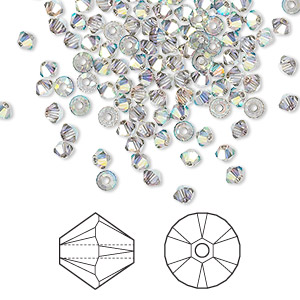 bead, swarovski crystals, crystal satin ab, 3mm xilion bicone (5328). sold per pkg of 144 (1 gross).