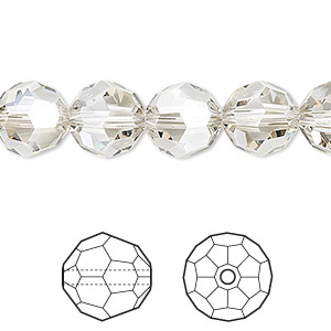 bead, swarovski crystals, crystal silver shade, 10mm faceted round (5000). sold per pkg of 24.