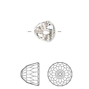 bead, swarovski crystals, crystal silver shade, 10x8mm faceted dome small (5542). sold per pkg of 96.