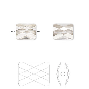 bead, swarovski crystals, crystal silver shade, 10x8mm faceted mini rectangle (5055). sold per pkg of 72.