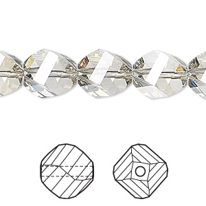 bead, swarovski crystals, crystal silver shade, 12mm faceted helix (5020). sold per pkg of 12.