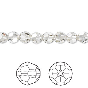 bead, swarovski crystals, crystal silver shade, 6mm faceted round (5000). sold per pkg of 12.
