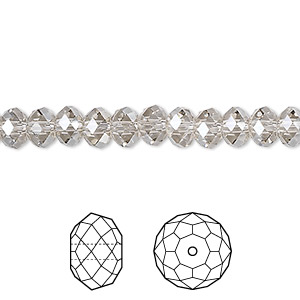 bead, swarovski crystals, crystal silver shade, 6x4mm faceted rondelle (5040). sold per pkg of 360.