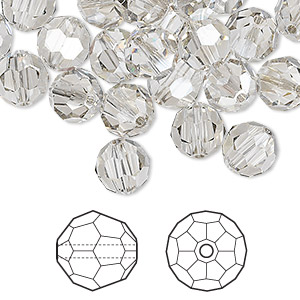 bead, swarovski crystals, crystal silver shade, 8mm faceted round (5000). sold per pkg of 288 (2 gross).