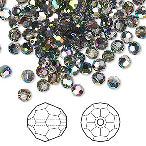 bead, swarovski crystals, crystal vitrail medium, 4mm faceted round (5000). sold per pkg of 720 (5 gross).