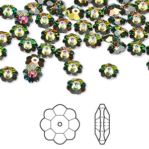 bead, swarovski crystals, crystal vitrail medium, 6x2mm faceted marguerite lochrose flower (3700). sold per pkg of 720 (5 gross).