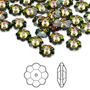 bead, swarovski crystals, crystal vitrail medium, 8x3mm faceted marguerite lochrose flower (3700). sold per pkg of 288 (2 gross).