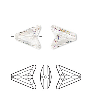 bead, swarovski crystals, crystal white patina, 12mm faceted arrow (5748). sold per pkg of 72.