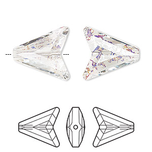 bead, swarovski crystals, crystal white patina, 16mm faceted arrow (5748). sold per pkg of 48.