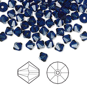 bead, swarovski crystals, dark indigo, 5mm faceted bicone (5301). sold per pkg of 144 (1 gross).