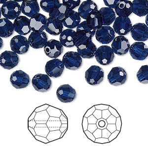 bead, swarovski crystals, dark indigo, 6mm faceted round (5000). sold per pkg of 144 (1 gross).