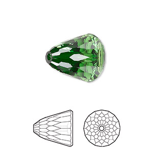 bead, swarovski crystals, dark moss green, 15x13.5mm faceted dome large (5541). sold per pkg of 48.