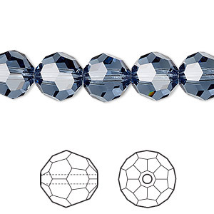 bead, swarovski crystals, denim blue, 10mm faceted round (5000). sold per pkg of 144 (1 gross).