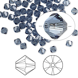 bead, swarovski crystals, denim blue, 4mm xilion bicone (5328). sold per pkg of 1,440 (10 gross).