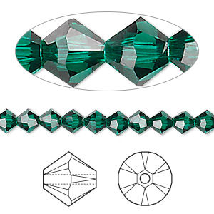 bead, swarovski crystals, emerald, 5mm xilion bicone (5328). sold per pkg of 144 (1 gross).