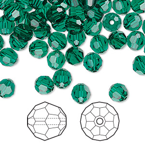 bead, swarovski crystals, emerald, 6mm faceted round (5000). sold per pkg of 360.
