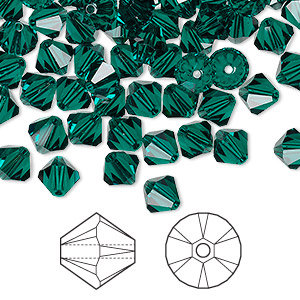 bead, swarovski crystals, emerald, 6mm xilion bicone (5328). sold per pkg of 360.