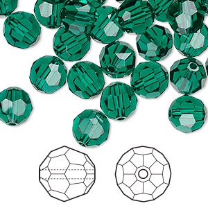 bead, swarovski crystals, emerald, 8mm faceted round (5000). sold per pkg of 288 (2 gross).