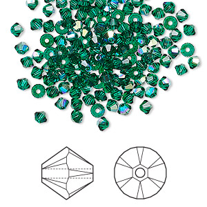 bead, swarovski crystals, emerald ab, 3mm xilion bicone (5328). sold per pkg of 48.