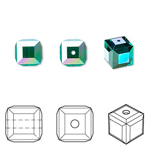 bead, swarovski crystals, emerald ab, 8x8mm faceted cube (5601). sold per pkg of 48.