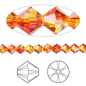 bead, swarovski crystals, fireopal, 5mm xilion bicone (5328). sold per pkg of 24.