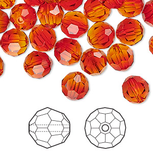 bead, swarovski crystals, fireopal, 8mm faceted round (5000). sold per pkg of 288 (2 gross).
