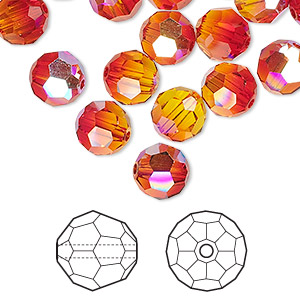 bead, swarovski crystals, fireopal ab, 8mm faceted round (5000). sold per pkg of 288 (2 gross).