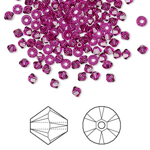 bead, swarovski crystals, fuchsia, 3mm xilion bicone (5328). sold per pkg of 144 (1 gross).