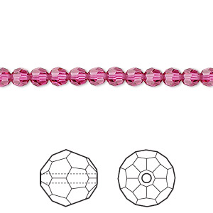 bead, swarovski crystals, fuchsia, 4mm faceted round (5000). sold per pkg of 720 (5 gross).