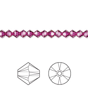 bead, swarovski crystals, fuchsia, 4mm xilion bicone (5328). sold per pkg of 48.