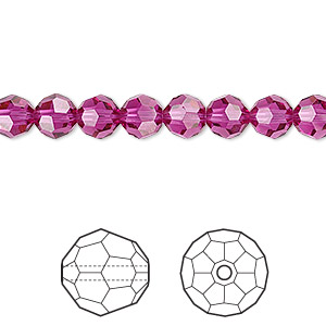 bead, swarovski crystals, fuchsia, 6mm faceted round (5000). sold per pkg of 12.