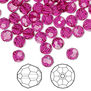 bead, swarovski crystals, fuchsia, 6mm faceted round (5000). sold per pkg of 360.