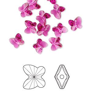 bead, swarovski crystals, fuchsia, 6x5mm faceted butterfly (5754). sold per pkg of 360.