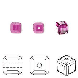 bead, swarovski crystals, fuchsia, 6x6mm faceted cube (5601). sold per pkg of 144 (1 gross).