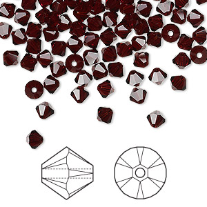 bead, swarovski crystals, garnet, 4mm xilion bicone (5328). sold per pkg of 1,440 (10 gross).